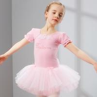 2017 sıcak kız çocuk bale dans dress performans mavi/pembe dantelli kısa kollu etek disfraces prenses leotard