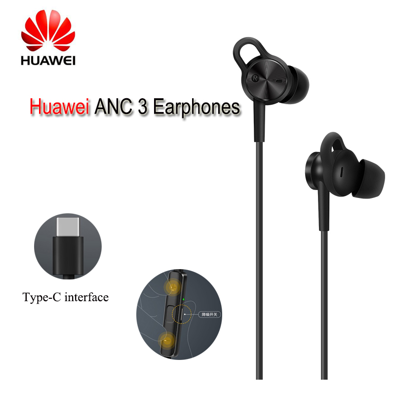 Original Product Huawei ANC 3 Earphones 3 Mode Active Noise Cancel Hi-Res Quality Music Type-C Charge-Free Mic Anti-Wind Design original huawei am180 in ear 3 5mm active noise cancellation earphones