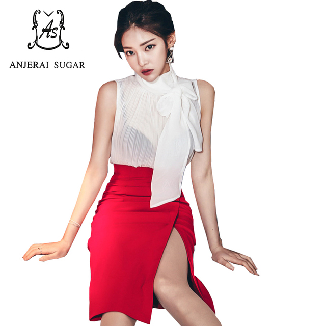 Summer Women suits Sexy bowknot Sleeveless Chiffon shirt and red high-waisted Split ends Night club Package hip Bodycon skirt