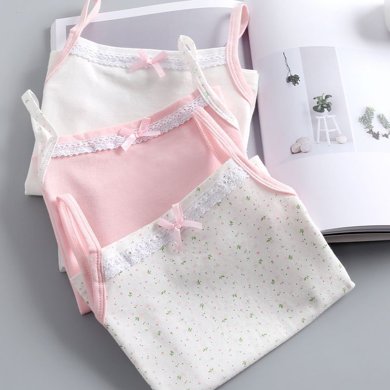 Girls Camisole Singlet Underwear Tank Cute Princess Lace Undershirts Cotton Tank Bow Tops For Baby Girl Kids Children Clothing