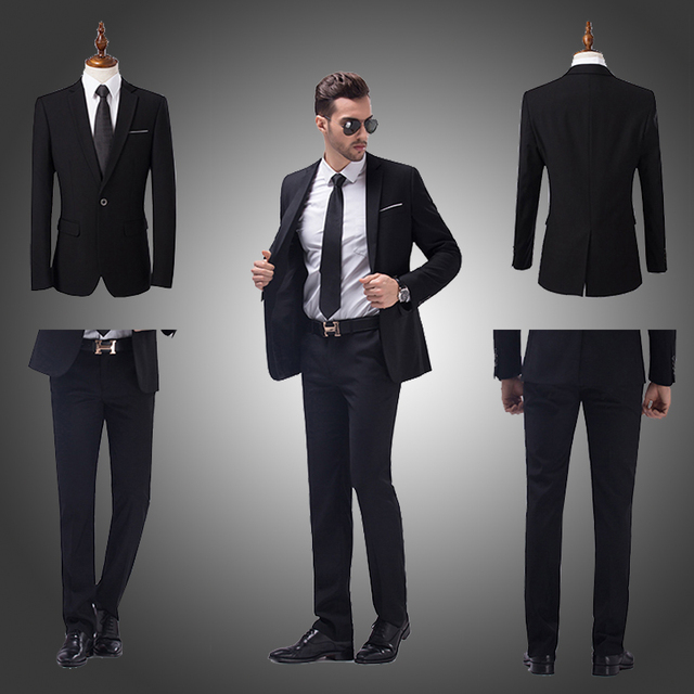 2017 Formal Men Suits Slim Fit Long Sleeve Business&Wedding Groom Suits High Quality Tuxedos&Blazers (Jacket+Pant)