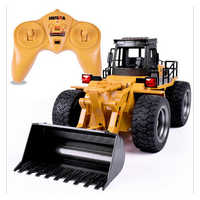 2.4G 6 CH Alloy RC Bulldozer Truck Cars with Light Remote Control Truck Model Bulldozer RC Truck Toys Car for Children Gifts
