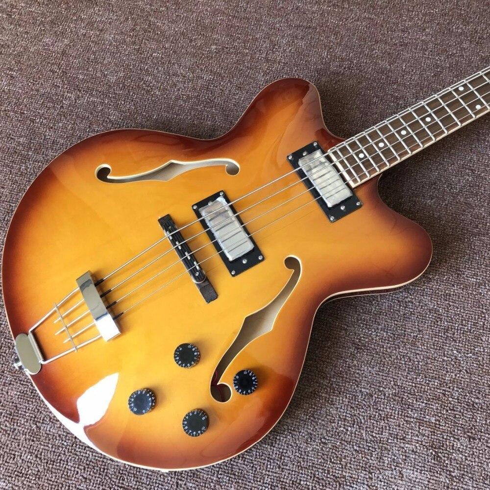 Creux corps JAZZ Basse électrique érable de guitare Jazz bass guitare Usine ventes directes, double F trou
