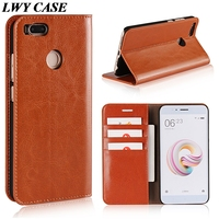 For Xiaomi Mi 5x Mi5X Luxury Cow Leather Genuine Leather Cowhid Case Wallet Flip Cover With