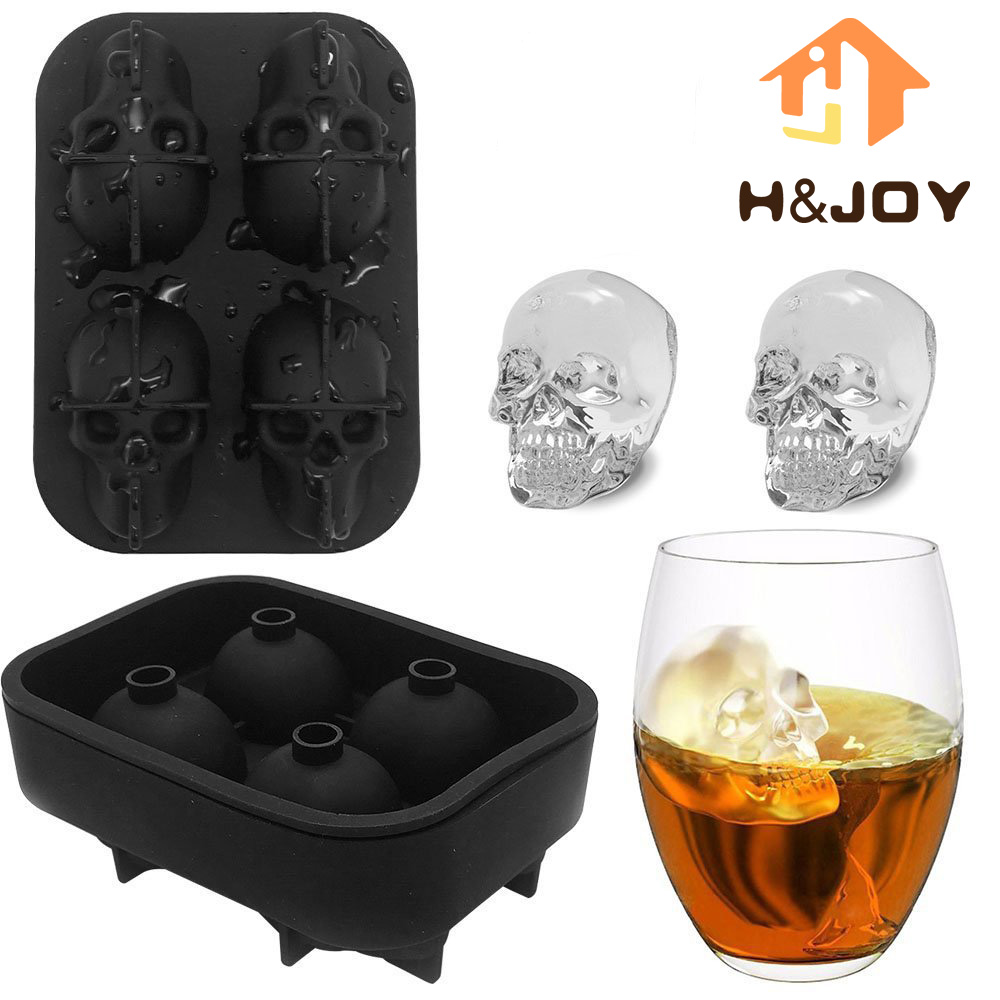 H&JOY 3D Skull Or Rose Silicone Ice Cube Mold Tray Makes Four 3D Ice ...