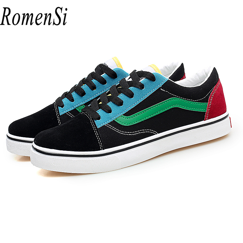 RomenSi Spring New Couple Sneakers Canvas Lace-up Walking Shoes Fashion Breathable Comfortable Flat Shoes For Male And Female