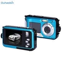 Ouhaobin Top Popular Video Camera Double Screen Waterproof Camera Blue 24MP 16x Digital Zoom Dive Camera