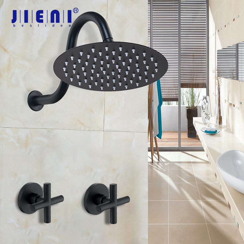 JIENI 8 Inch Ultra thin Black Painting Round Wall Mount Bathroom Dual Handles Rainfall Shower Faucet Shower Head Hand Shower Set-in Shower Faucets from Home Improvement