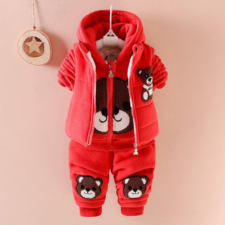 Child Suit Children Thickening Increase Rong Weiyi Three-piece Children Baby Winter Baby Clothing rong lin