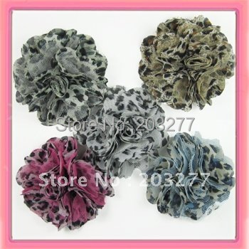 Free shipping!24pcs/lot 3 inch New chiffon leopard mesh fabric flowers 5colors for your choice