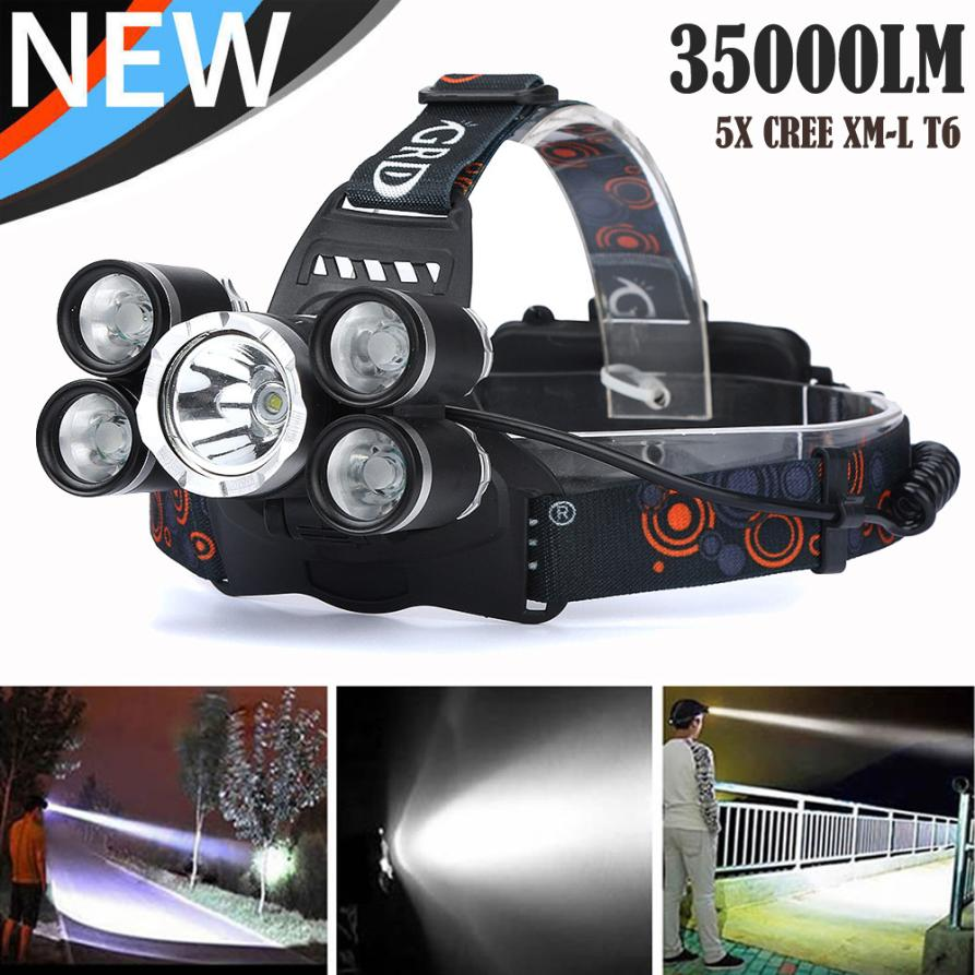 35000 LM 5X XM-L T6 LED Rechargeable Bicycle Headlamp Headlight Travel Head Torch Outdoor Cycling Flashlight Adjustable Base P50 lumiparty 4000lm headlight cree t6 led head lamp headlamp linterna torch led flashlights biking fishing torch for 18650 battery