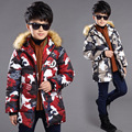 Fur fashion boy down jacket in winter camouflage printed children removable cap frock coat zipper with thick warm children