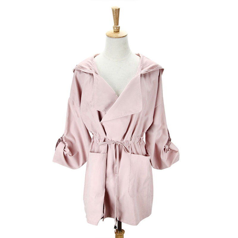 HTB1qk8jePoIL1JjSZFyq6zFBpXat New 2019 Women Jack Coat Autumn Long Sleeve Hooded Coat Jacket Casual Elastic Waist Pocket Kimono Female Loose Outwear