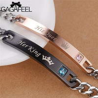GAGAFEEL Valentine S Day Bracelet His Queen Her King For Couple Men Women Stainless Steel Jewelry