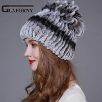 2016 New Arrival Winter Fur Hat For Women Real Rex Rabbit Fur Hat With Fox Fur