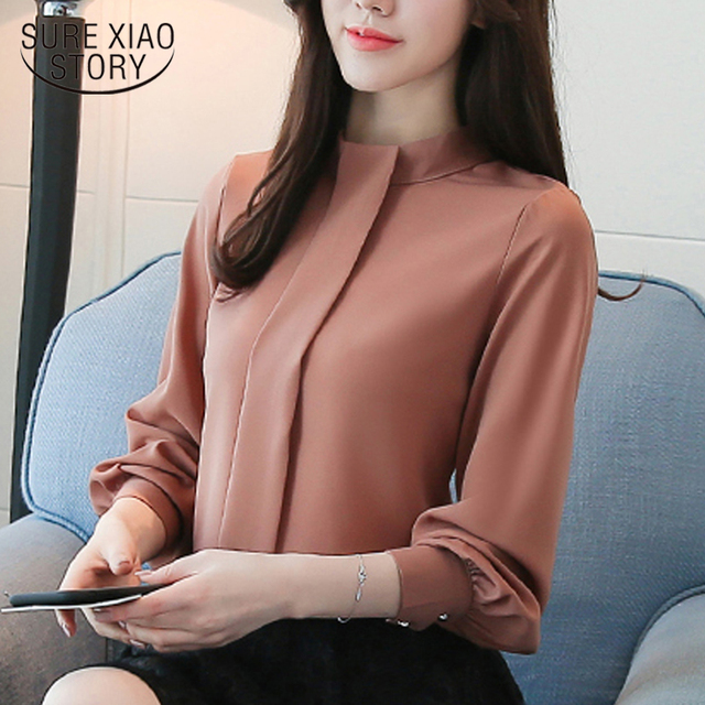 New 2018 spring Women Blouses shirt Long Sleeve Fashion Casual women's clothing solid Chiffon Clothes women Tops blusas D456 30