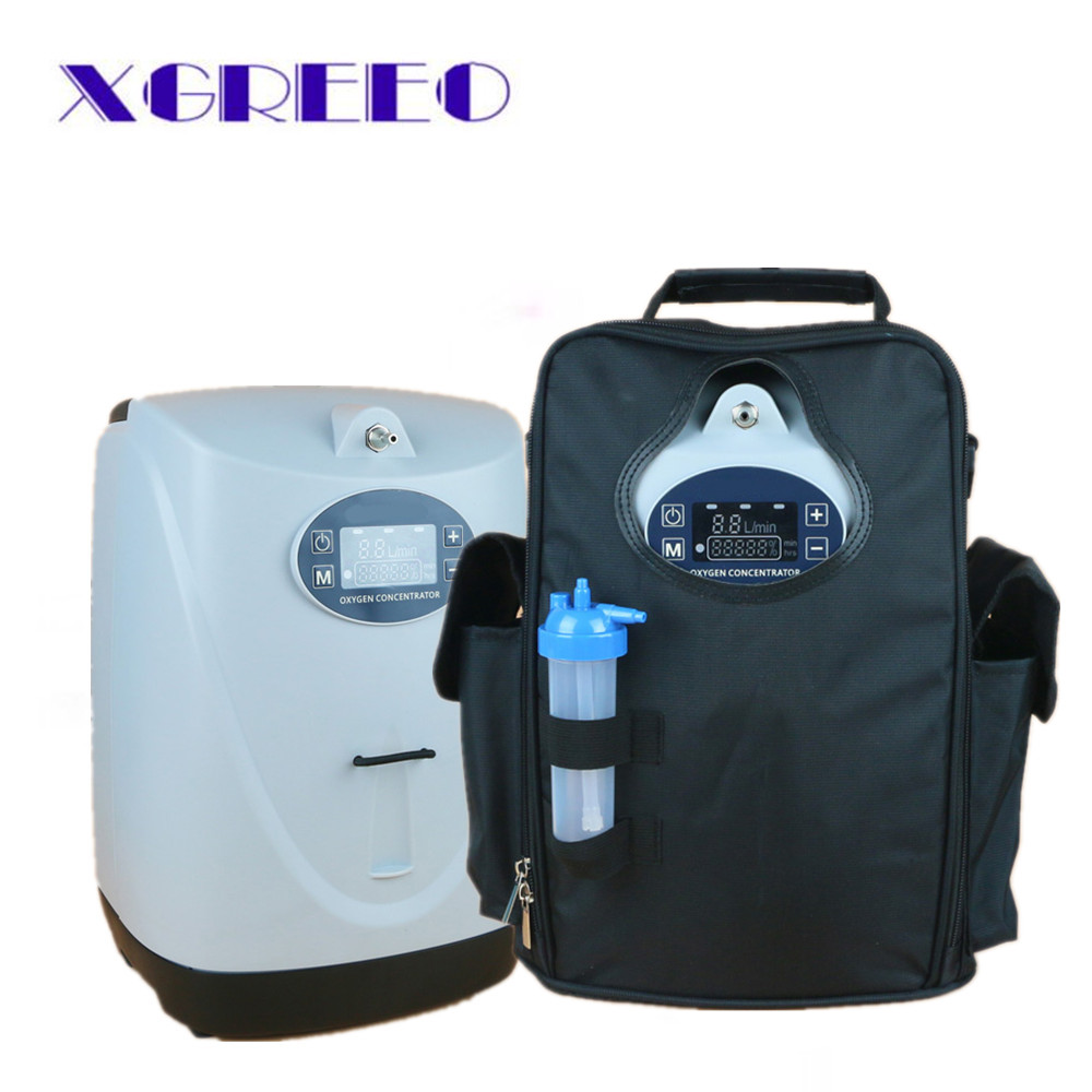 XGREEO Battery Operated Portable Oxygen Concentrator Generator Home Car Travel with cart oxygen making machine 32w oxygen concentrator machine portable oxygen generator 3l min low noise