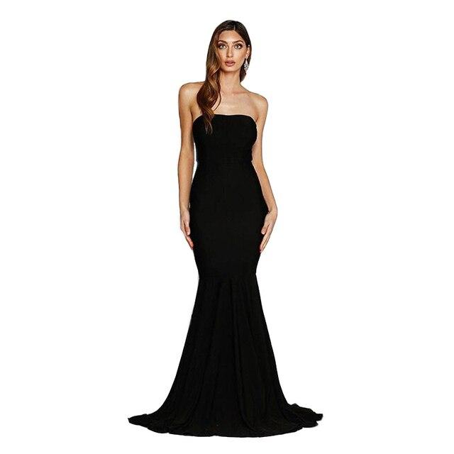 KISSCC Trägerlosen Bodenlangen Kleid Kleid Sexy Backless Schwarz ...