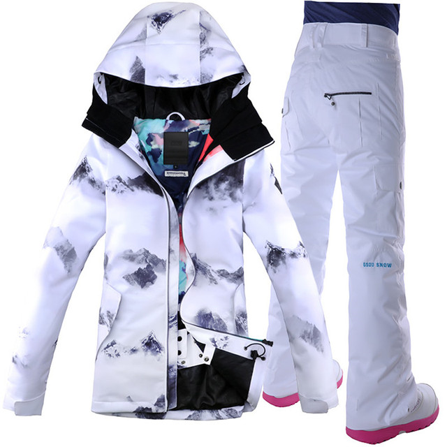 2018 GSOU SNOW Ski Suits Women Chinese Ink Painting Women s Ski Jacket +  Pant Female Snowboarding b80f0d57d