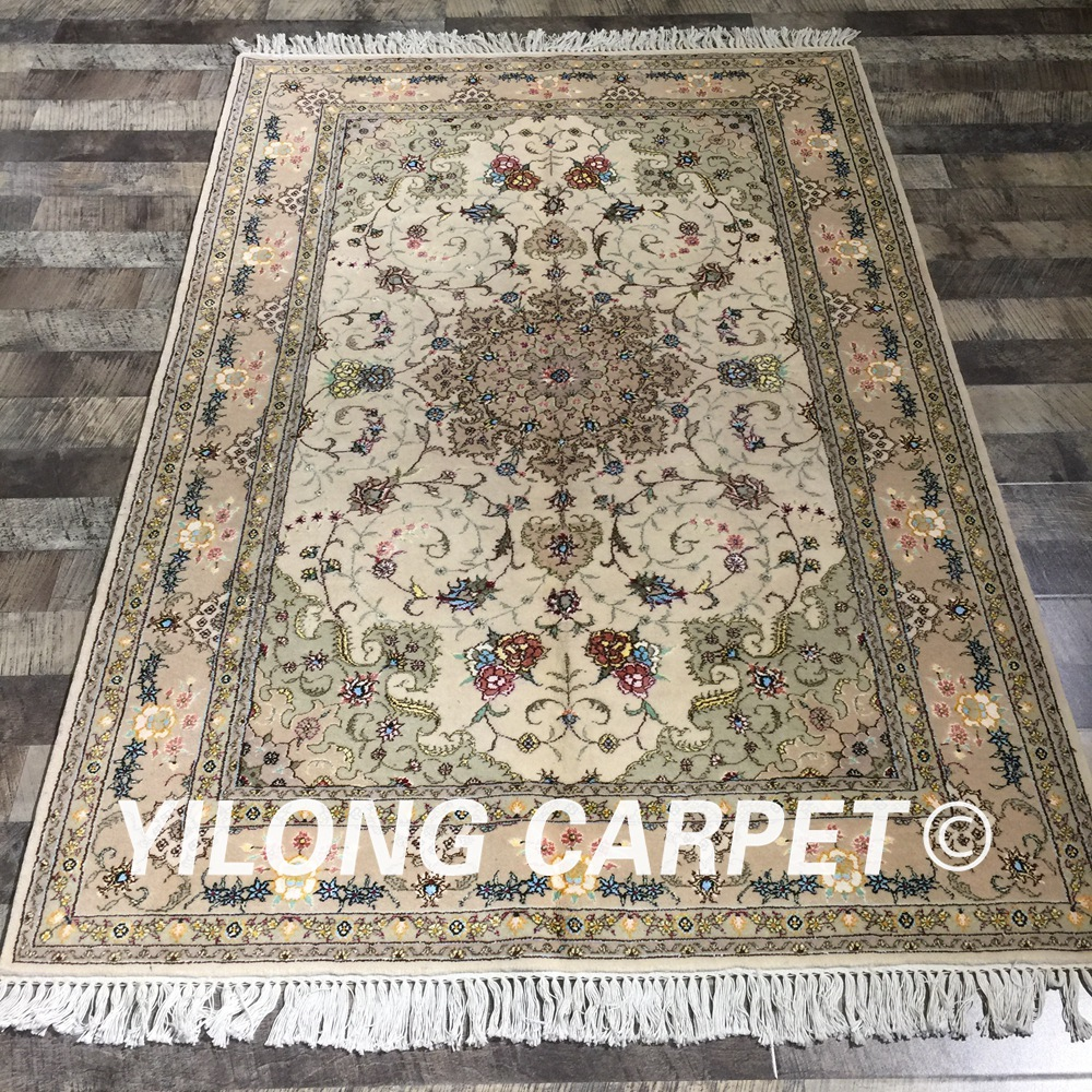Yilong 4 X6 Wool Silk Persian Handknotted Rug Oriental