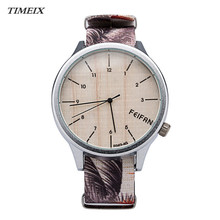 New Casual Style Wood Grain Watches Women Lady Canvas Analog Wrist Watch Quartz Wristwatches Gift Free Shipping