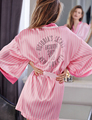 2016 Pink Silk Robe Short Satin Robes for Women Clothing Sexy Lovely Pink Striped Diamond Peignoir Femme