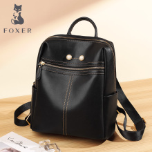 FOXER Brand Women Travel Backpack Teenage Casual Split Leather School Bag Large Capacity Female Fashion Backpack