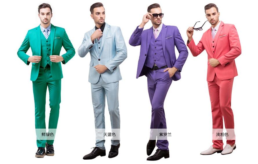 S 4XL 7 colors jacket+vest+pant free shipping2015men business suit ...