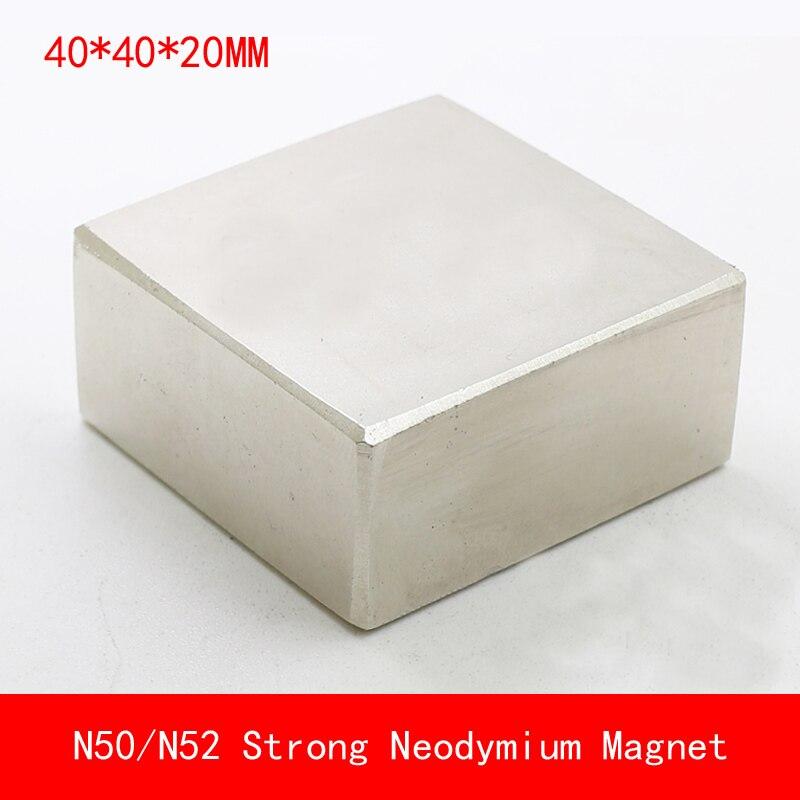 1 PZ block 40x40x20mm N50 N52 Magnete di NdFeB Magneti Al Neodimio superficie placcato nichel