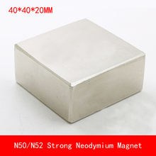 1PCS block 40x40x20mm N50 N52 NdFeB Magnet Neodymium Magnets surface plated nickle цена