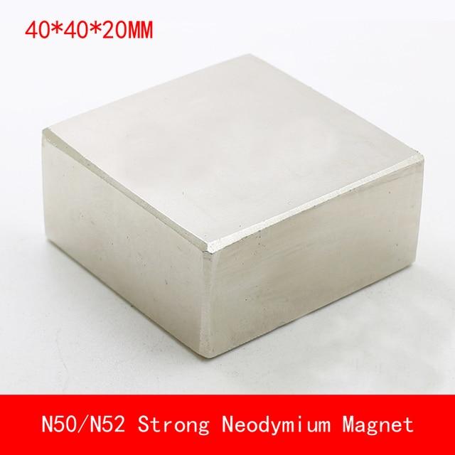 1PCS block 40x40x20mm N50 N52 NdFeB Magnet Neodymium Magnets surface plated nickle