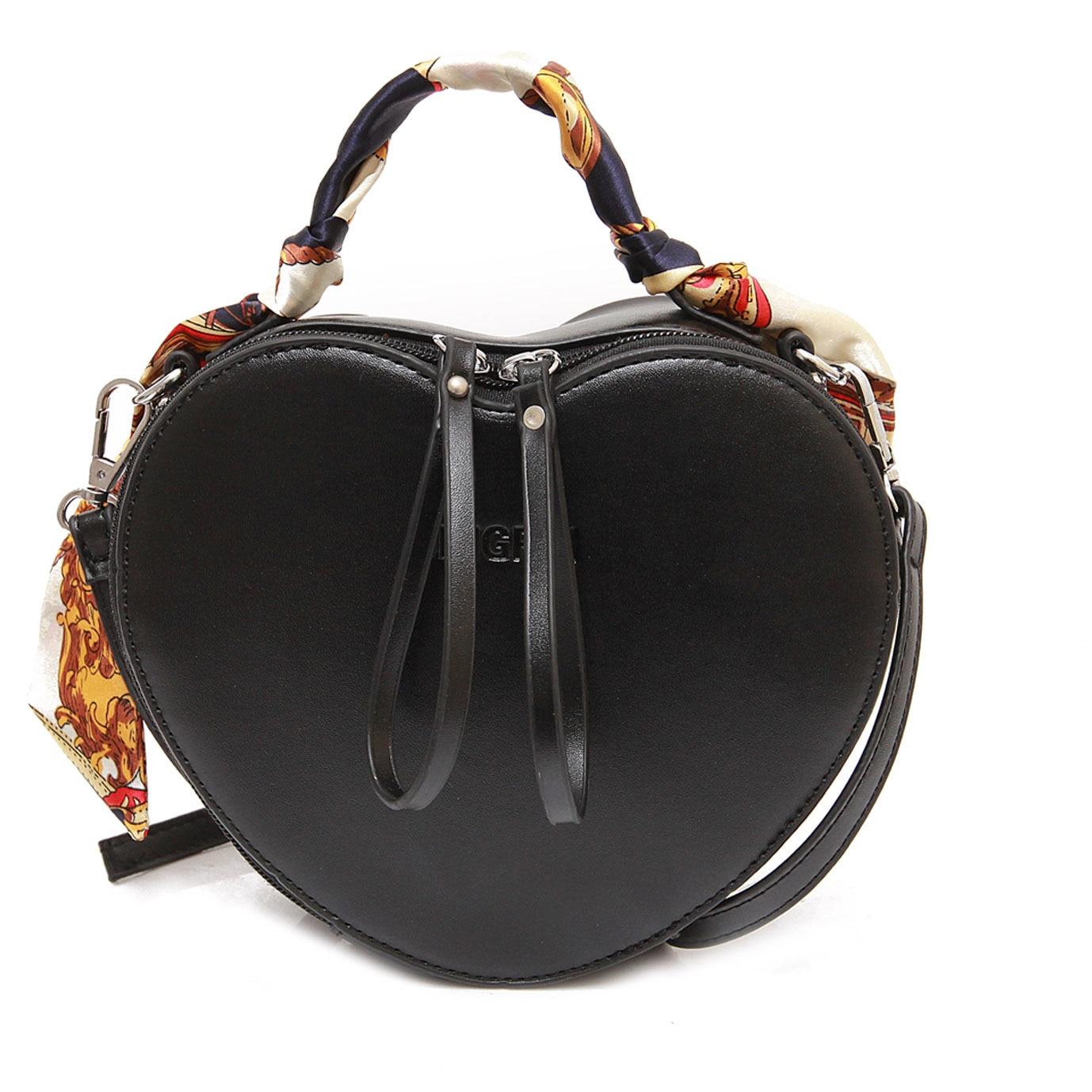 2017 new cartoon red heart shape women shoulder crossbody messenger bag scarves decoration lady lovely peach handbag