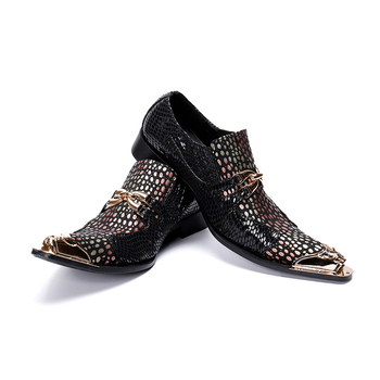 Mens Fashion Dot printing Party Shoes Slip On Comfort Geniune Leather pointet-toe Formal Dress gold toe oxford