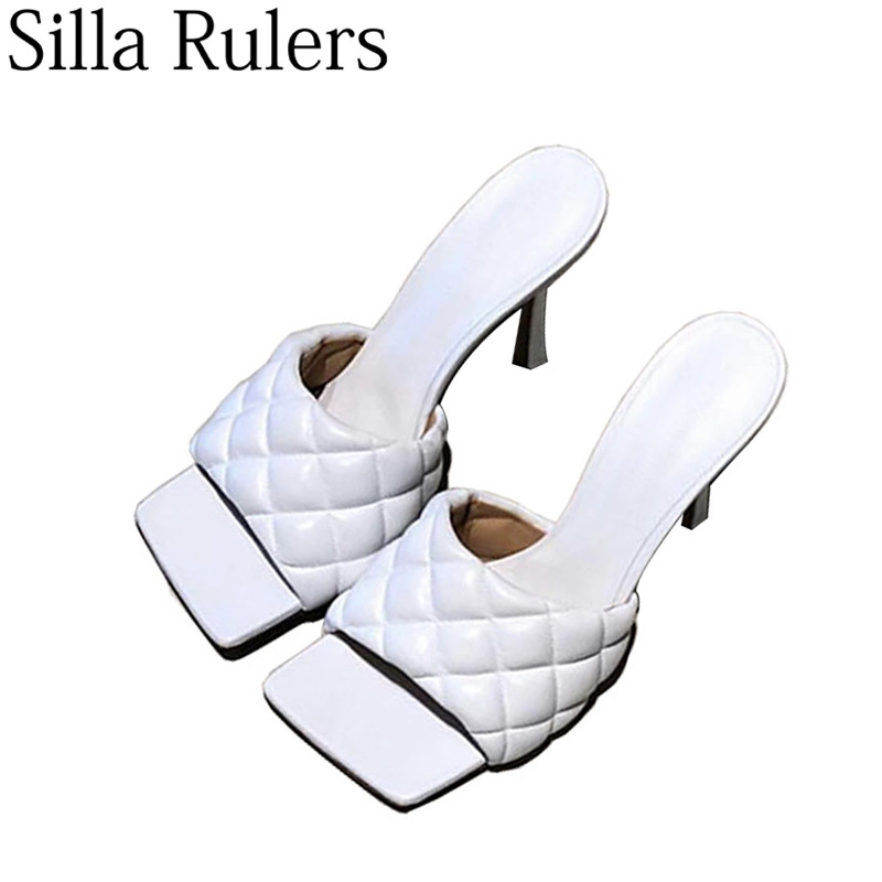 2019 Fashionable Square Toe Slippers Woman Peep Toe High Heels Mules Woman Genuine Leather Summer Sandals Zapatos De Mujer-in Slippers from Shoes    1