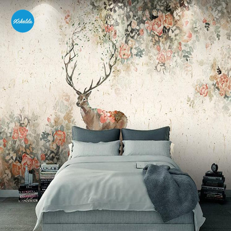 XCHELDA Custom 3D Wallpaper Design Hand Painted Deer Photo Kitchen Bedroom Living Room Wall Murals Papel De Parede Para Quarto kalameng custom 3d wallpaper design street flower photo kitchen bedroom living room wall murals papel de parede para quarto