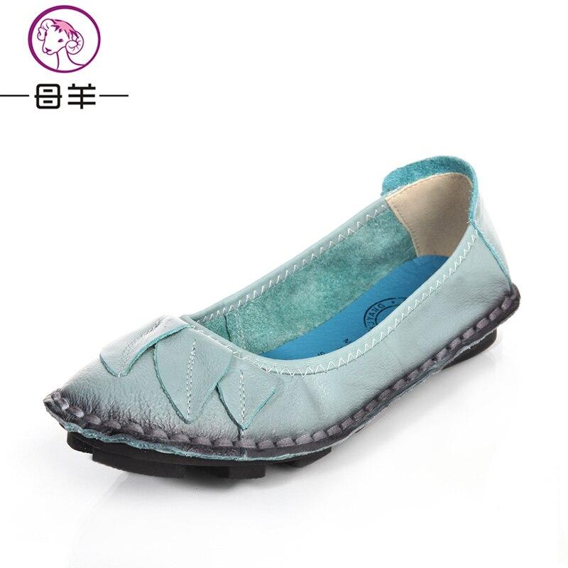 Muyang marcas zapatos de mujer zapatos de la mujer del cuero genuino ocasional s