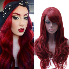 MUMUPI fashion Long water wave Red Wig girls Party Synthetic High Temperature Wire Hair cosplay wigs for women's headwear(China)