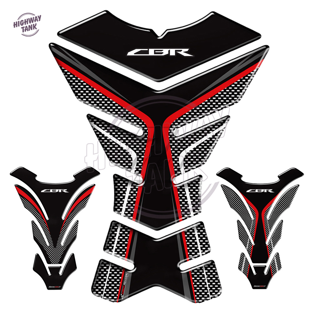 3D Carbon-look Motorcycle Tank Pad Protector Decal Stickers Case For Honda CBR 250RR 600RR 900RR 1000RR 650F 500R Fireblade