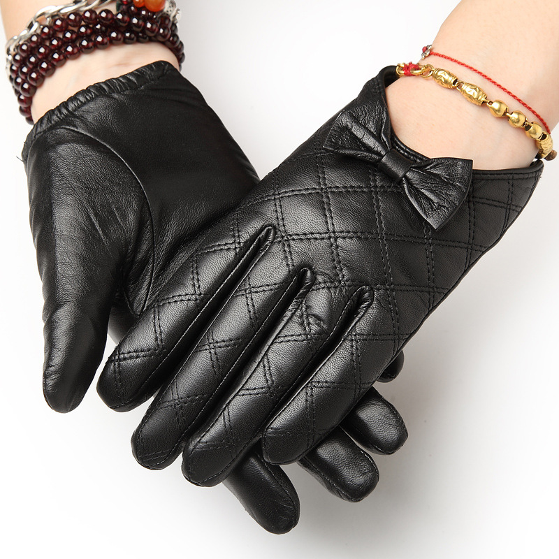 Autumn/ Winter Short Warm Real Leather Gloves Female Driving Leather Gloves Female Locomotive Thin Goatskin Leather Gloves 1411|real leather gloves|gloves female|driving leather gloves - title=