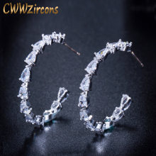 CWWZircons 2018 New Fashion Brand Jewelry Round Water Drop Gorgeous 925 Sterling Silver CZ Crystal Hoop Earrings for Women CZ152(China)