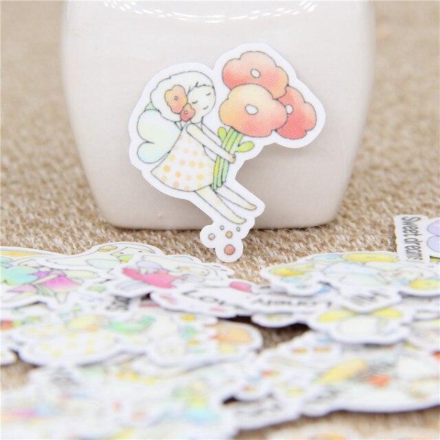 40 piezas Mini danza mariposa chica pegatina niños papel diario Scrapbooking decorativo Diy pegatinas para niños juguetes clásicos