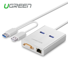 Ugreen USB 3.0 для VGA Видео Графическая Карта Внешнего кабель-Адаптер 1000 Gigabit Ethernet 2 Порта Концентратора для Windows 7/8/10