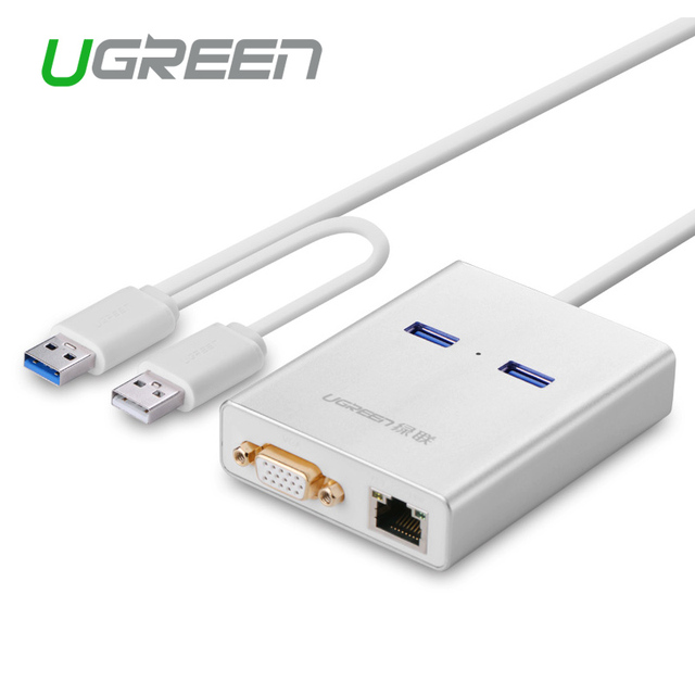 Ugreen USB 3.0 to VGA Video Display Graphic Card External Cable Adapter 1000 Gigabit Ethernet 2 Ports Hub for  Windows 7/8/10