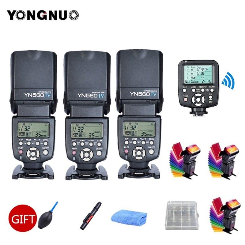 3 pcs Yongnuo YN560 IV YN560IV 2.4g Sans Fil Speedlite Flash + YN560TX ii Flash Contrôleur Trigger Pour Canon Nikon