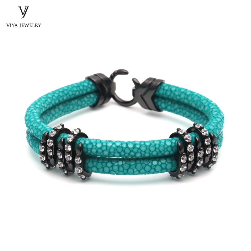 Luxury Sports Club Gift 925 Sterling Silver Bracelet With Gift Box Colorful Stingray Leather Bracelets For Vogue Men комплекс аминокислот fit rx bcaa 2 1 1 фруктовый пунш 300 г