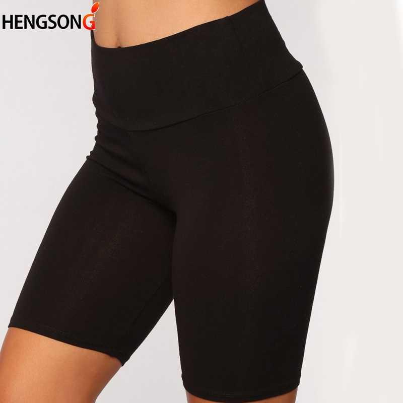 Frauen Dünne Fitness Kurzen Hosen Casual Damen Dünne Hosen High-Taille Sommer Bottom Knie-Länge Schwarz Shorts Bodycon streetwear