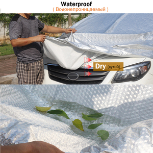 Image 4 - Cawanerl Three Layer Thick Car Cover Waterproof Anti UV Sun Rain Snow Hail Dust Protection Surface Aluminum Foil + Inner Cotton