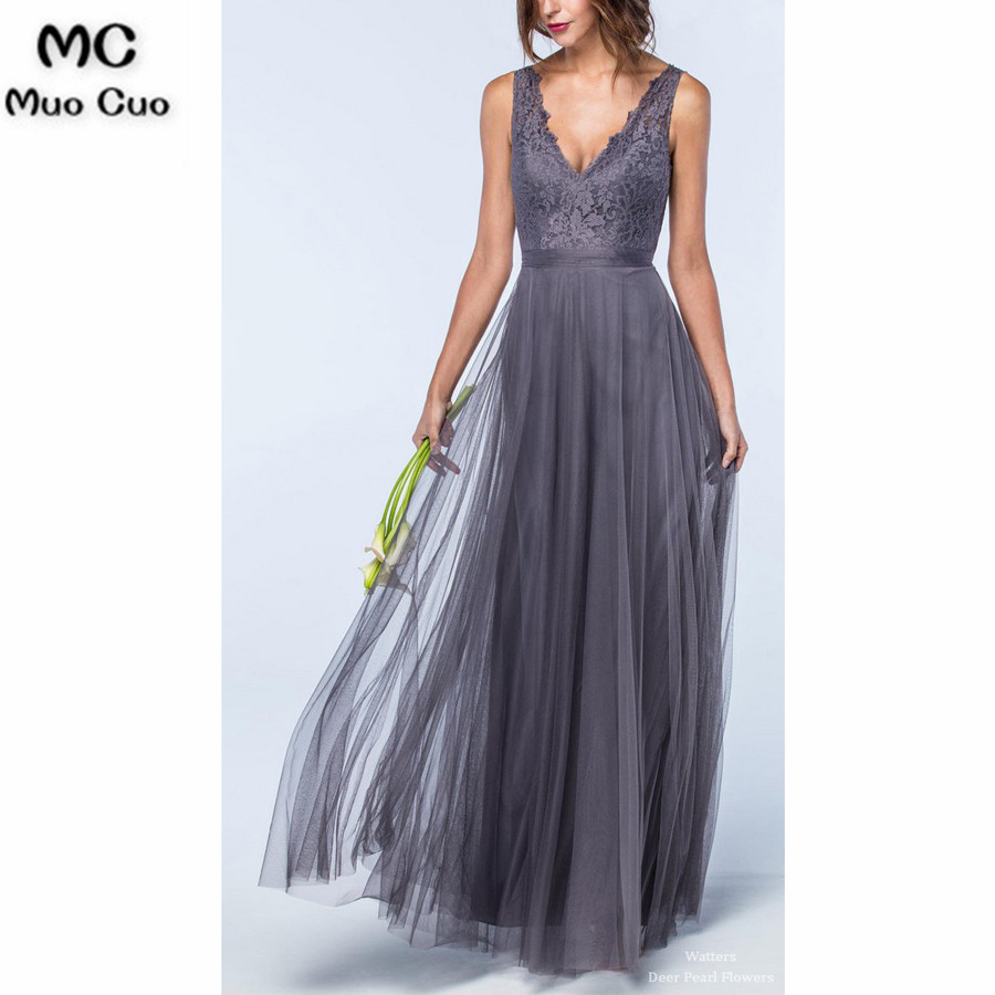 2018 Lace   Bridesmaid     Dresses   Long Tank Double Deep V-Neck Formal Wedding Party   Dress   Custom Made Tulle Women   Bridesmaid     Dress