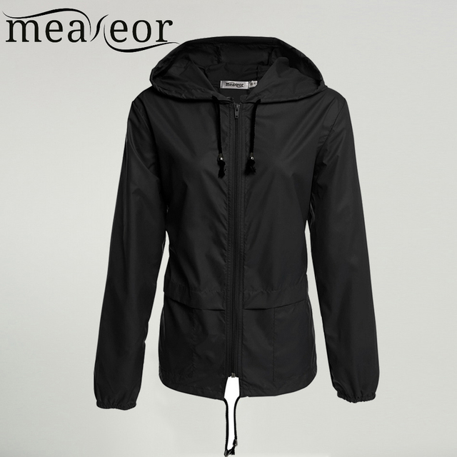 Meaneor thin trench coat for Women Hooded 2017 autumn winter 9 colors Lightweight Waterproof Sun protection casual coat Black