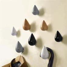 1 Uds gancho de madera para la pared Chic gota de agua Puerta de baño abrigo colgador individual negro hierro fundido pared vintage negro 19mar19